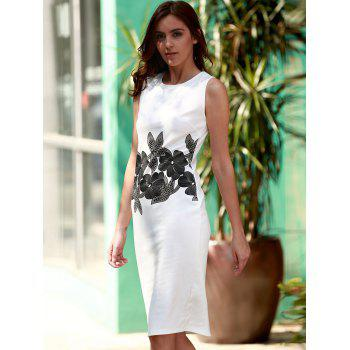 Brief Style Round Neck Sleeveless Floral Print Sheathy Women's Dress - WHITE S