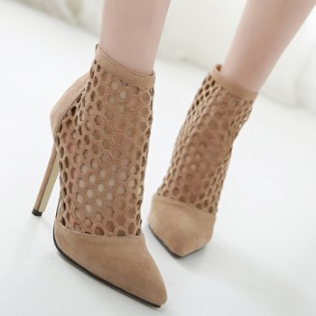 Fashion Hollow Out and Pointed Toe Design Pumps For Women - APRICOT 38