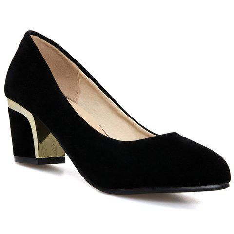 Concise Chunky Heel and Suede Design Pumps For Women - BLACK 34
