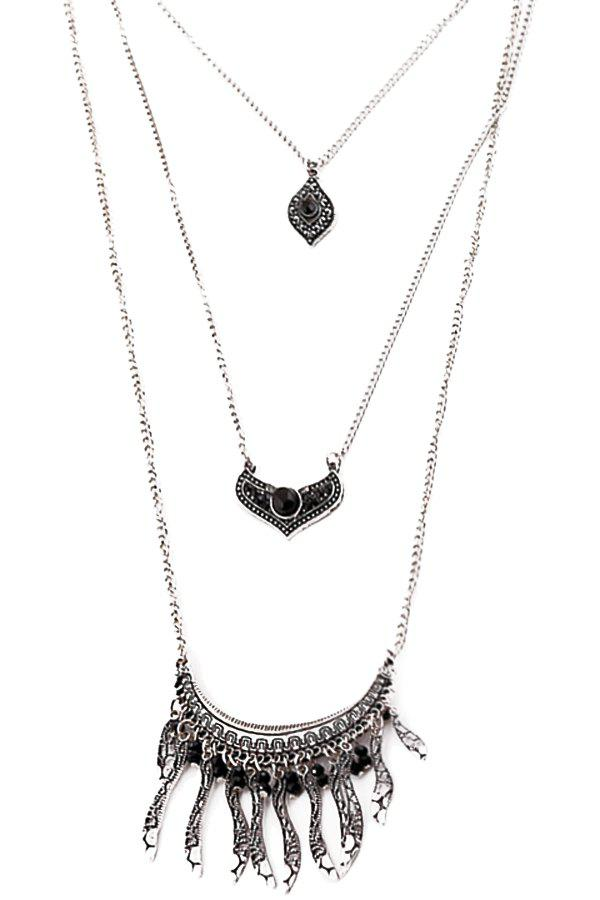 Chic Multi-Layered Leaf Necklace For Women - BLACK