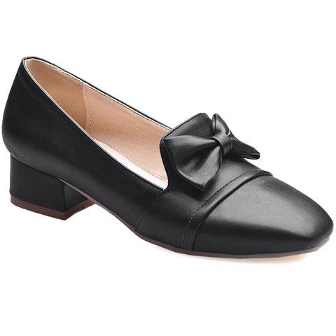 Sweet Bow and Square Toe Design Women's Flat Shoes - BLACK 35