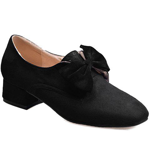 Graceful Bow and Flock Design Women's Flat Shoes - BLACK 38