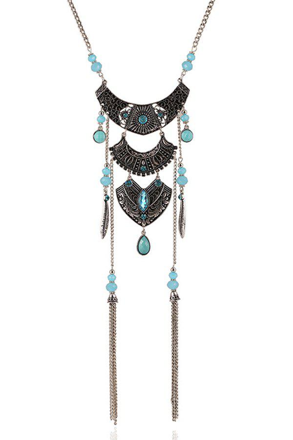 Vintage Multi-Layered Arc Tassel Necklace - SILVER