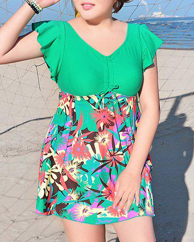 Sweet Push-Up Dolman Sleeves  Floral Print One-Piece Swimwear For Women
