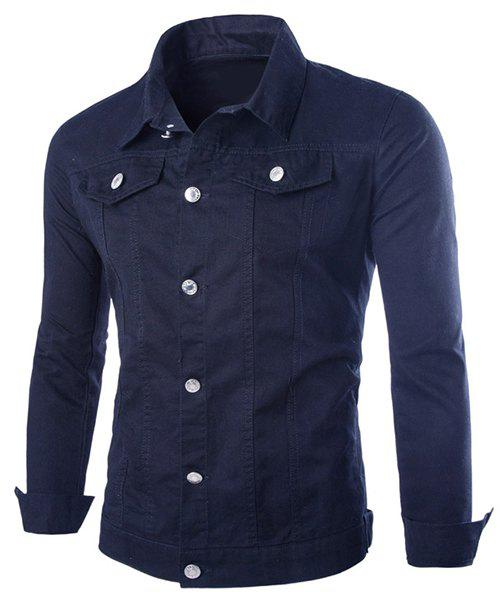 Slim Fit Single Breasted Solid Color Jacket For Men - CADETBLUE L