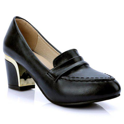 Elegant PU Leather and Pointed Toe Design Pumps For Women - BLACK 36