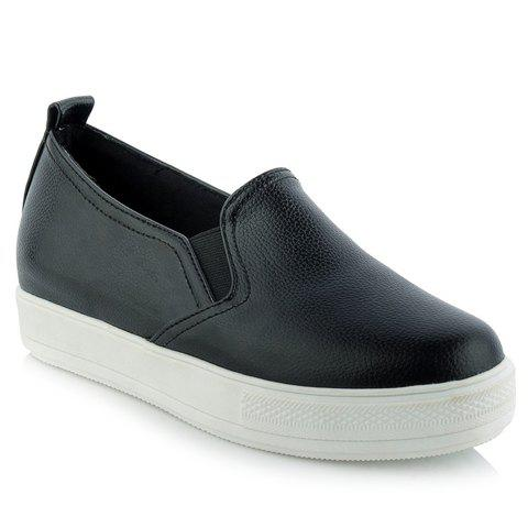 Leisure Round Toe and Elastic Design Women's Wedge Shoes - BLACK 39