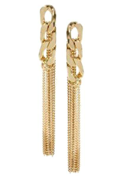 Pair of Chic Link Chain Tassel Earrings For Women - GOLDEN