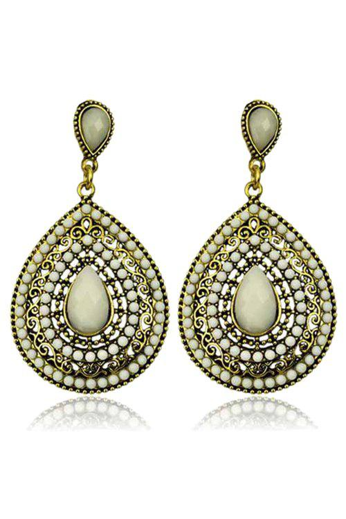 Pair of Retro Faux Crystal Water Drop Earrings For Women - OFF WHITE