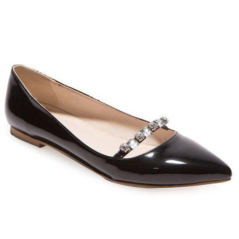 Trendy Rhinestones and Solid Colour Design Women's Flat Shoes - BLACK 36