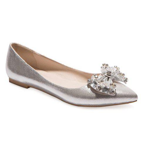 Stylish Bow and Solid Colour Design Women's Flat Shoes - SILVER 38