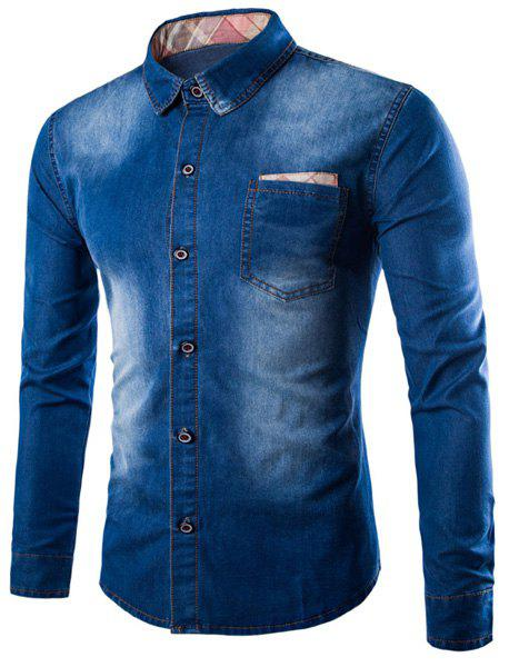 Turn-Down Collar Bleach Wash Design Patch Pocket Long Sleeve Men's Denim Shirt