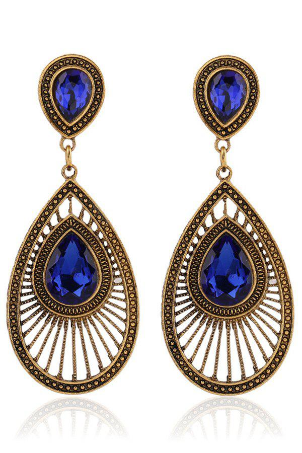 Pair of Ethnic Faux Crystal Water Drop Earrings - SAPPHIRE BLUE