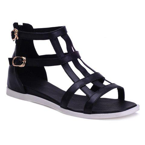 Casual Buckle Straps and PU Leather Design Sandals For Women - BLACK 34