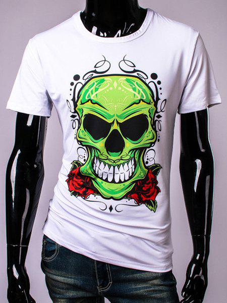 3D Green Skull and Rose Print Round Neck Short Sleeve Men's T-Shirt - WHITE M