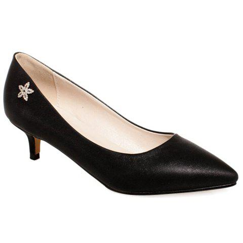 Trendy Solid Color and Flower Design Women's Pumps - BLACK 39