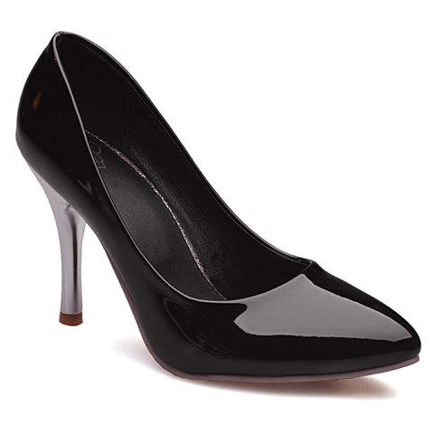 Simple Solid Color and Patent Leather Design Women's Pumps - BLACK 36
