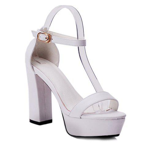 Fashionable Chunky Heels and Two-Piece Design Sandals For Women - 36 WHITE