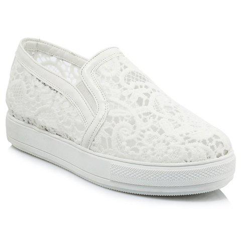 Sweet Lace and Elastic Design Women's Flat Shoes - WHITE 37