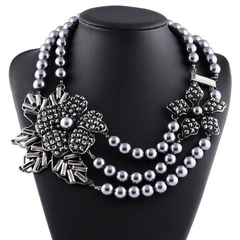 Multilayered Rhinestone Faux Pearl Floral Necklace - GUN METAL