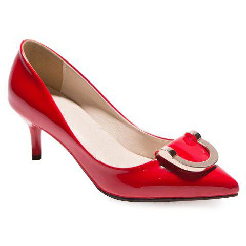 Trendy Stiletto Heel and Metal Design Women's Pumps - RED 37
