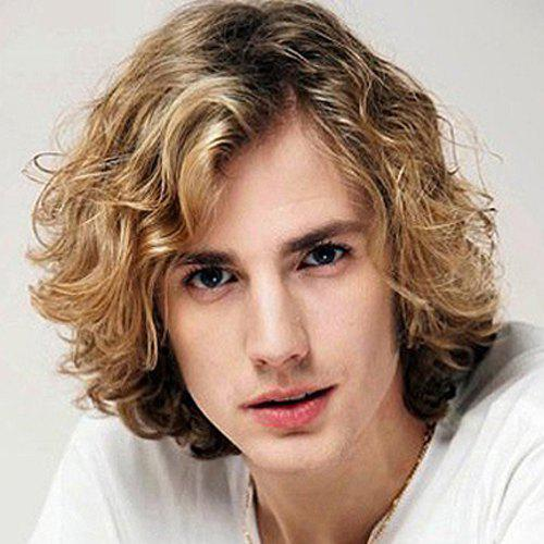 Buy Fluffy Curly Capless Handsome Short Side Bang Mixed Color Synthetic Wig Men