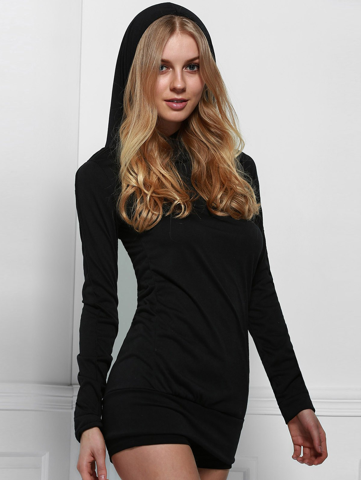 Stylish Black Hooded Finger Hollow Out Long Sleeve Bodycon Dress For Women - BLACK S