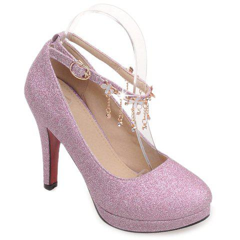 Elegant Ankle Strap and Sequined Cloth Design Pumps For Women - PURPLE 38