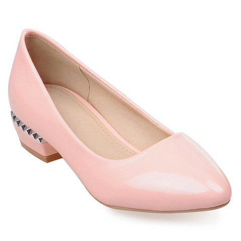 Simple Patent Leather and Pointed Toe Design Flat Shoes For Women - PINK 38