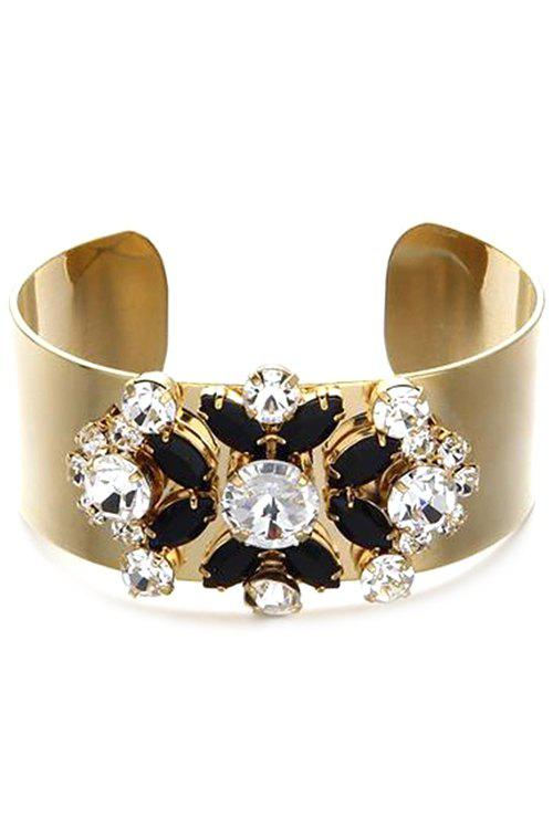Trendy Faux Crystal Floral Chunky Cuff Bracelet For Women - BLACK