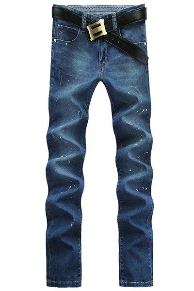 Casual Paint Spraying Straight Legs Middle-rise Zip Fly Denim Pants For Men - BLUE 34