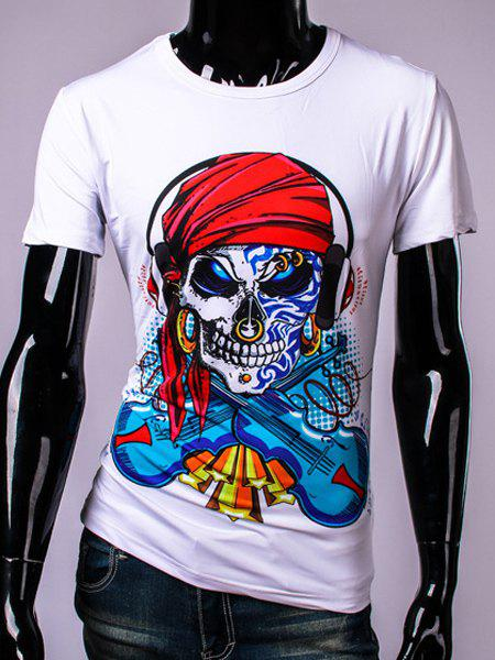 3D Pirate Skull and Violin Print Round Neck Short Sleeve Men's T-Shirt