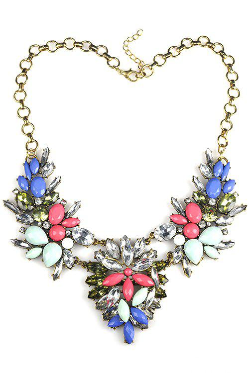 Charming Colorful Faux Crystal Floral Necklace For Women - GOLDEN