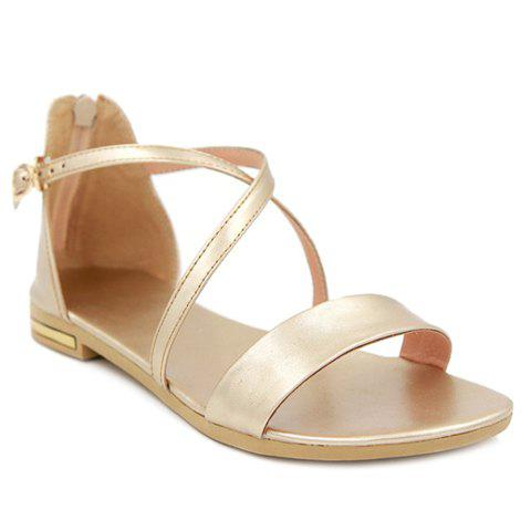 Casual Zipper and Cross Straps Design Women's Sandals - GOLDEN 38