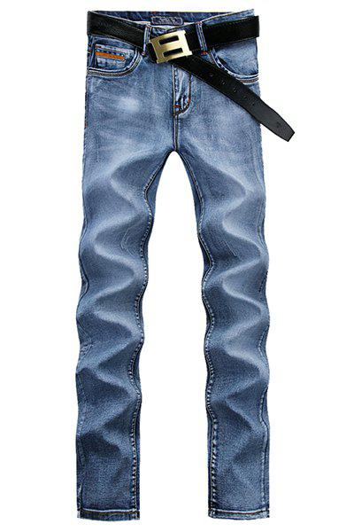 Casual Middle-rise Straight Legs Zip Fly Denim Pants For Men - BLUE 28