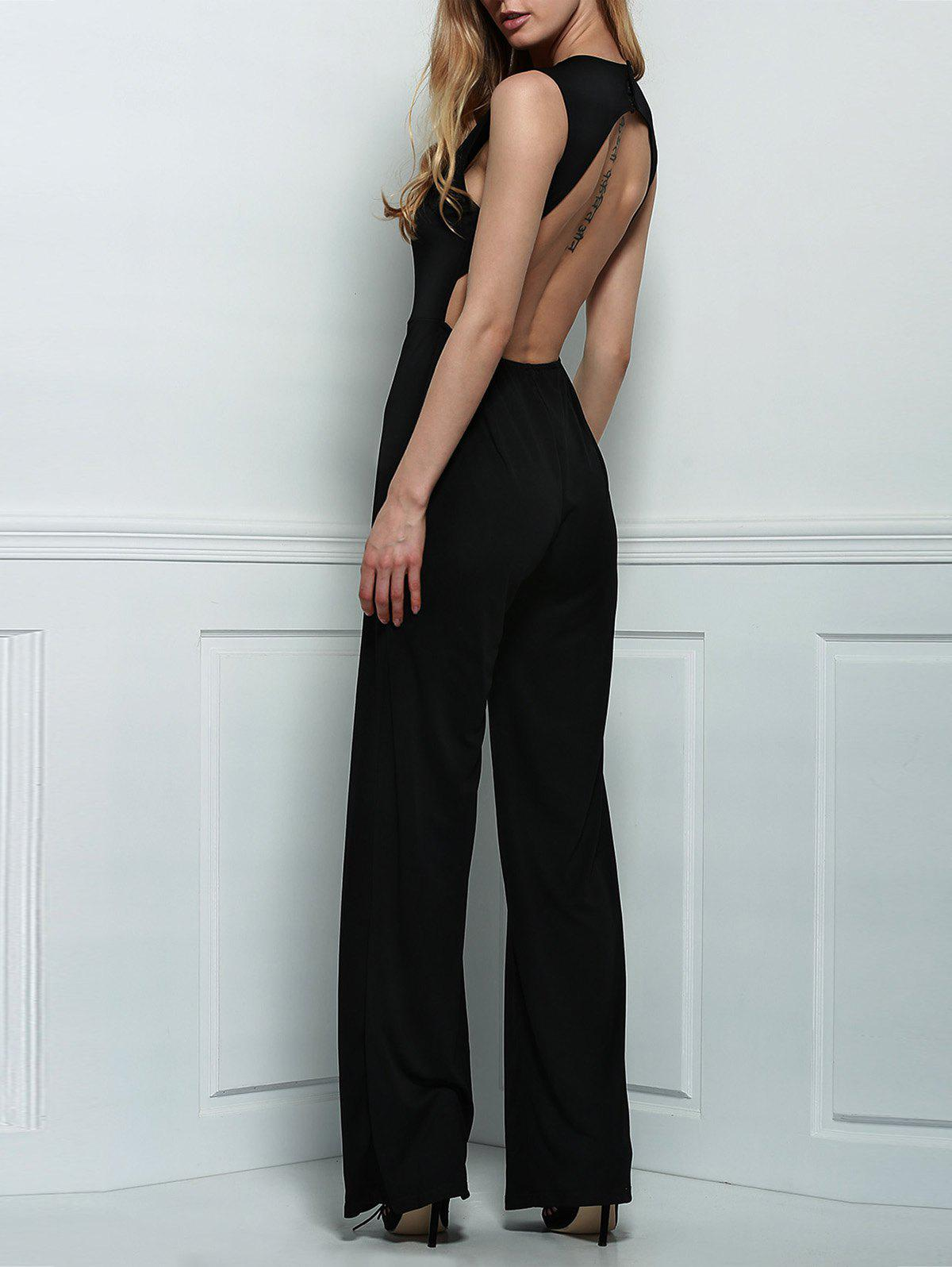 Sexy Plunging Neck Sleeveless Backless Women's Black Jumpsuit - BLACK S
