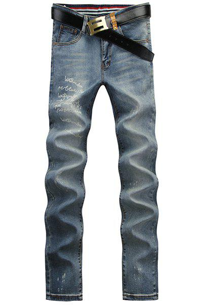 Casual Letter Printed Middle-rise Straight Legs Zip Fly Denim Pants For Men