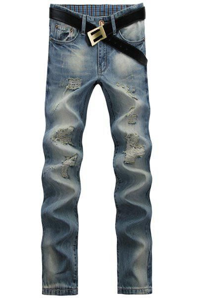 Casual Ripped Design Middle-rise Straight Legs Zip Fly Denim Pants For Men - BLUE 34