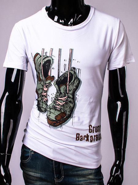 3D Shoes and Letters Print Round Neck Short Sleeve Men's T-Shirt - WHITE L
