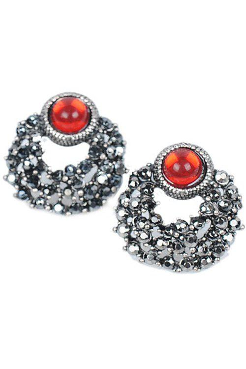 Pair of Retro Faux Ruby Round Earrings For Women - RED