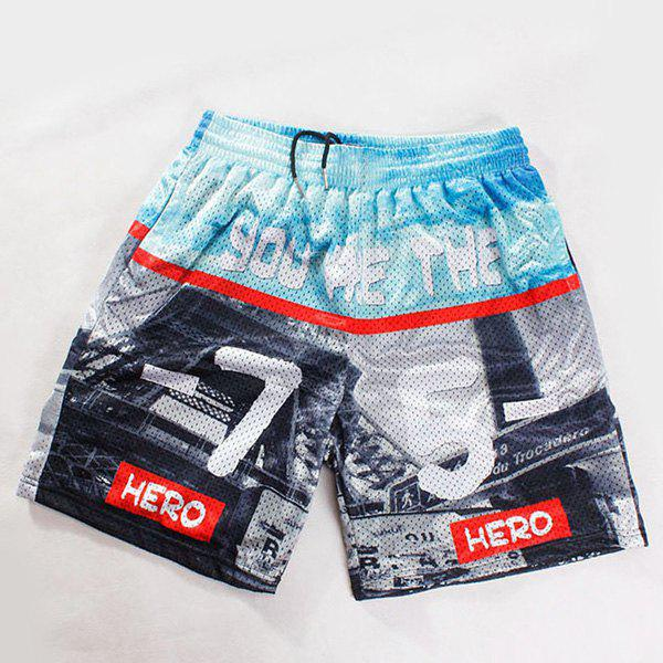 Straight Leg Breathable Letters Pattern Drawstring Men's Board Shorts