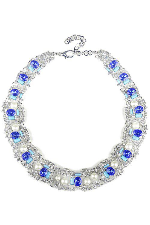 Elegant Faux Crystal Oval Necklace For Women - BLUE