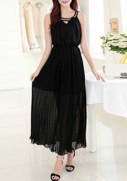 Alluring Women's Scoop Neck Sleeveless Chiffon Dress - BLACK L