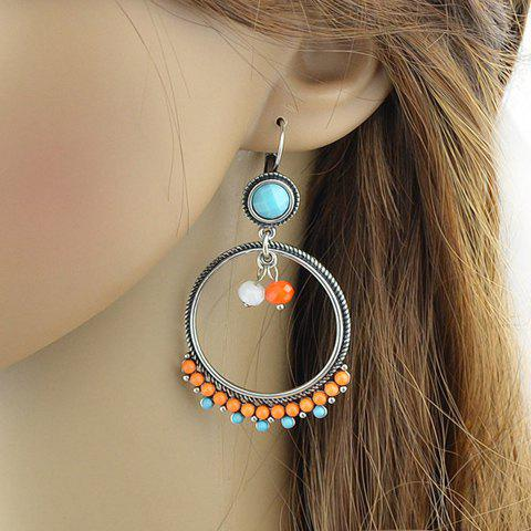 Pair of Beads Faux Turquoise Drop Earrings - BLUE