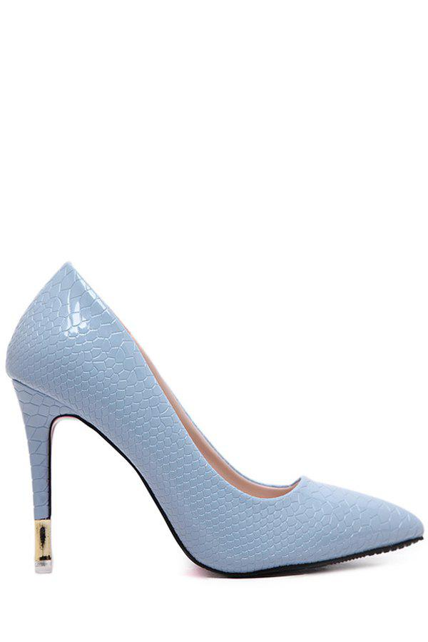 Office Lady Embossing and Pointed Toe Design Pumps For Women - AZURE 38