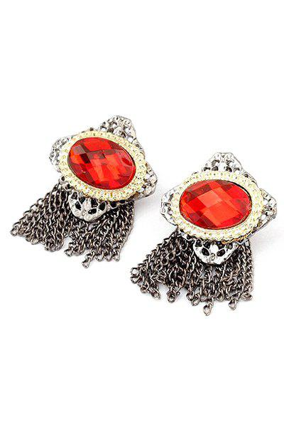 Pair of Retro Faux Ruby Link Chain Tassel Earrings For Women - COPPER COLOR