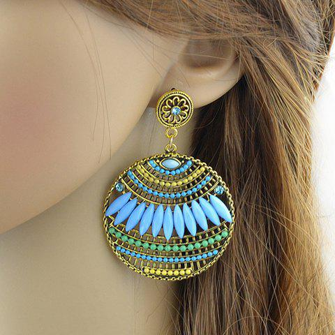 Pair of Floral Hollow Out Beads Drop Earrings pair of hollow out round feather drop earrings