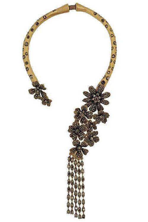 Characteristic Rhinestoned Flower Tassel Torque For Women - GOLDEN