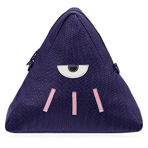 Cute PU Leather and Triangle Design Backpack For Women - BLUE