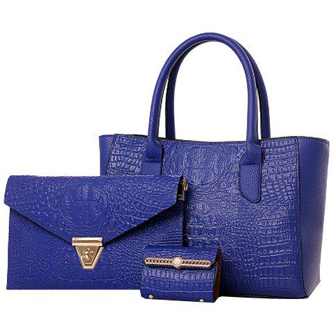 Trendy Solid Color and Embossing Design Women's Tote Bag - BLUE